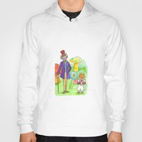 willy wonka Hoodies featuring Pure Imagination: Willy Wonka & Oompa Loompa by Michael Richey White by lost robot