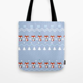 Fox Christmas Sweater Pattern Tote Bag