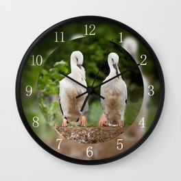 Orphaned two White Storks Wall Clock