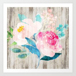 Custom Boho Watercolor Wood Pattern Art Print