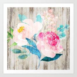 Custom Boho Watercolor Wood Pattern Art Print