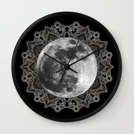 Take Me to the Moon: a mixed media collage in black and white Wall Clock
