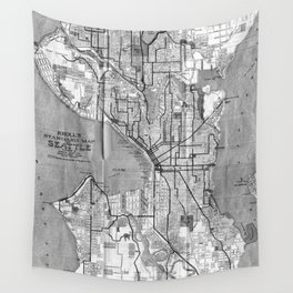 Vintage Map of Seattle Washington (1914) BW Wall Tapestry