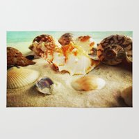 shell Area & Throw Rugs featuring Shell by brushnpaper