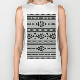 Abstract Tribal Native Geometric Pattern Biker Tank