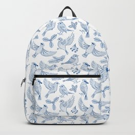 Winter Birds and Foliage Pattern (Blue) Backpack