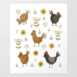 chicken floral Art Print