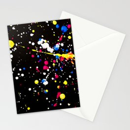 Neon Paint Splats and Spots on Black Stationery Cards