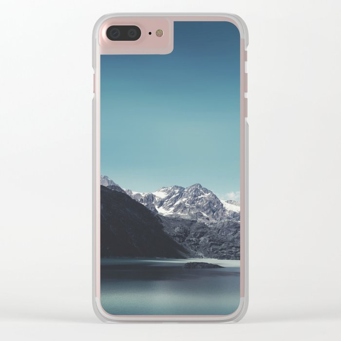 turquoise mountain lake Clear iPhone Case