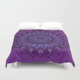 Bohemian Mandala in Plum with Turquoise Duvet Cover