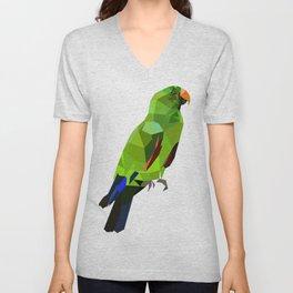 Eclectus parrot Geometric bird art Unisex V-Neck