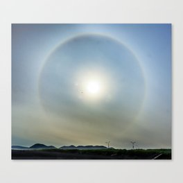 Plane in the Sun circle Canvas Print
