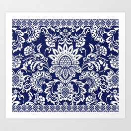 damask in white and blue Art Print