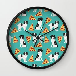 Japanese Chin cheery pizza slice junk food funny cute gifts for dog lover pet friendly pet protraits Wall Clock