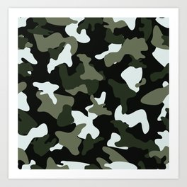 Green White camo camouflage army pattern Art Print