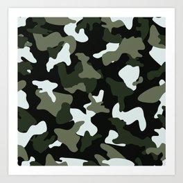 Green White camo camouflage army pattern Art Print