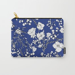 Botanical hand painted navy blue white floral Carry-All Pouch