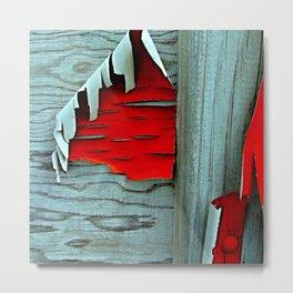 Peeling Red Paint Metal Print