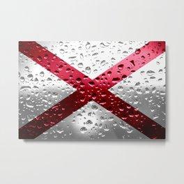 Flag of Alabama - Raindrops Metal Print