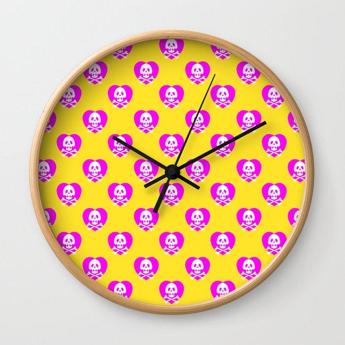 Skull heart pattern, punk rock skull, punk girl, love kills, yellow pink hearts, girly emo skull Wall Clock