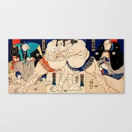 Utagawa Yoshifuji - The Sumo Wrestlers Shiranui Dakuemon Canvas Print