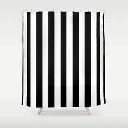 Solid Black and White Wide Vertical Cabana Tent Stripe Shower Curtain
