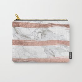 Modern chic faux rose gold brush stripes white marble Carry-All Pouch