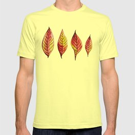 Four Red And Yellow Autumn Leaves T-shirt