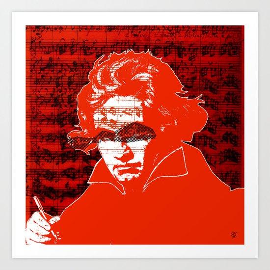 Ludwig van Beethoven · red10 Art Print