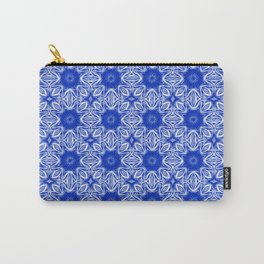 Sapphire Blue Floral Carry-All Pouch