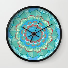 In Full Bloom - detailed floral doodle in blue, green & red Wall Clock