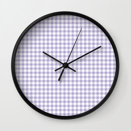 Lilac Gingham Check Wall Clock