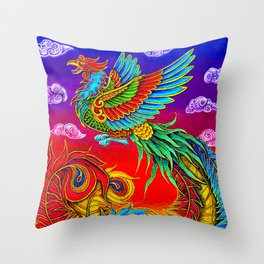 Colorful Fenghuang Chinese Phoenix Rainbow Bird Throw Pillow