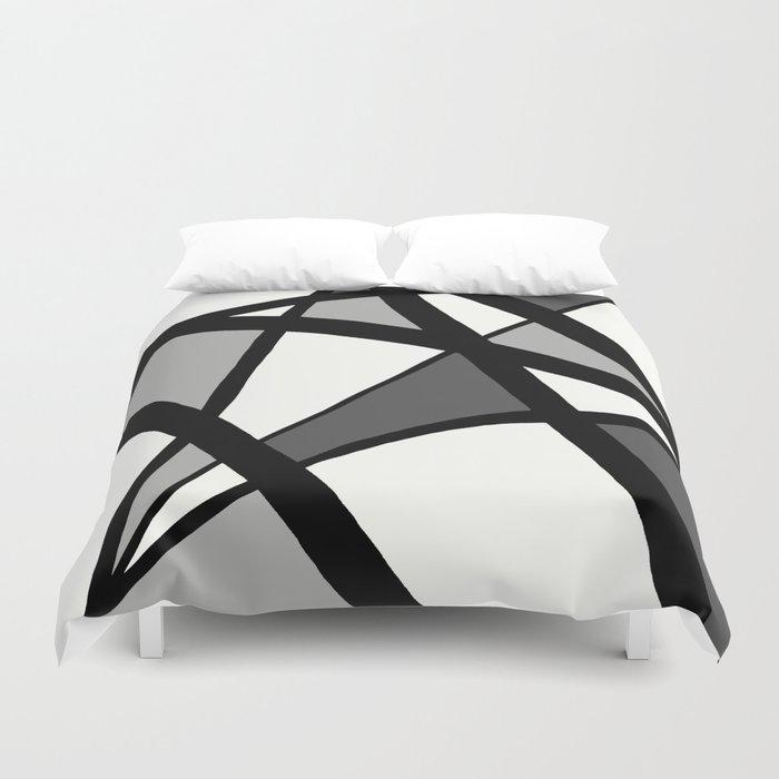 Geometric Line Abstract - Black Gray White Bettbezug