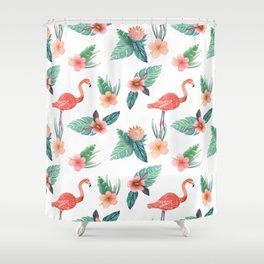 Flamingo Coral Exotic Floral with palms , hibiscus and protea Shower Curtain