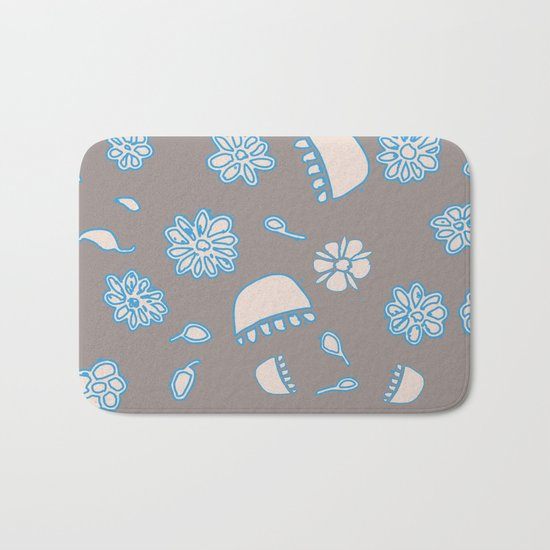 Flower border blue Bath Mat