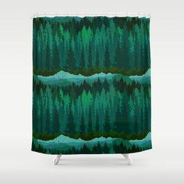 PNW Mountain Landscape in Emerald Green Shower Curtain