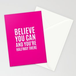 BELIEVE YOU CAN AND YOU'RE HALFWAY THERE (Magenta) Stationery Cards