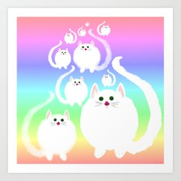 Fluffy cloud cats and rainbow! Art Print
