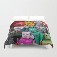 terminator Duvet Covers featuring Robots & The Terminator by Iris Chadab