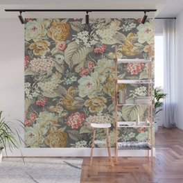 Gray Gold White Rose Pattern Wall Mural