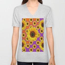Sunflower Patterns on Orange & Purple Color Unisex V-Neck