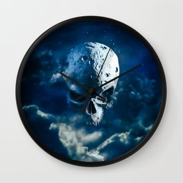Reaper Moon Rising / 3D render of cratered skull moon in night sky Wall Clock