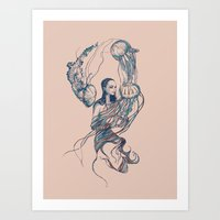 jellyfish Art Prints featuring Jellyfish by Huebucket