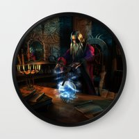 wizard Wall Clocks featuring Wizard by Digital Dreams
