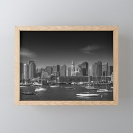BOSTON Skyline North End & Financial District | Monochrome Framed Mini Art Print