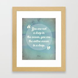 Rumi Ocean Drop Framed Art Print
