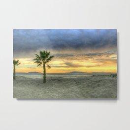 Palm Tree and Sunset Metal Print