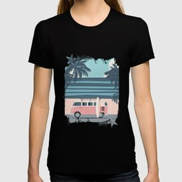 Surfer Graphic Beach Palm-Tree Camper-Van Art T-shirt