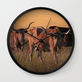 Texas Longhorn Steers on the Prairie at Sunset Wall Clock